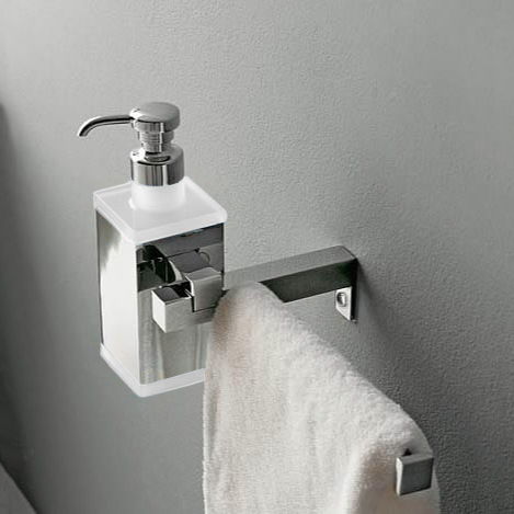 Soap Dispenser, Toscanaluce 4528-BC, Wall Mounted Square Brass Soap Dispenser with Towel Rail