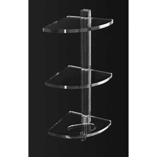 Elegant Bathroom Shelf, Toscanaluce L006/TR, Plexiglass Triple Corner Bathroom  Shelf With Hook