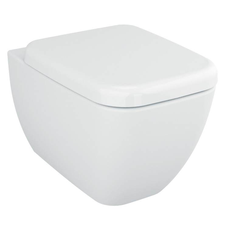 Toilet, Vitra 4392-003-0075, Stylish Square White Ceramic Wall Hung Bathroom Toilet with Seat 4392-003-0075