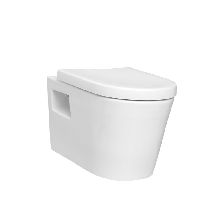 Toilet, Vitra 5139-003-0075, Sleek Round White Ceramic Wall Toilet with Seat