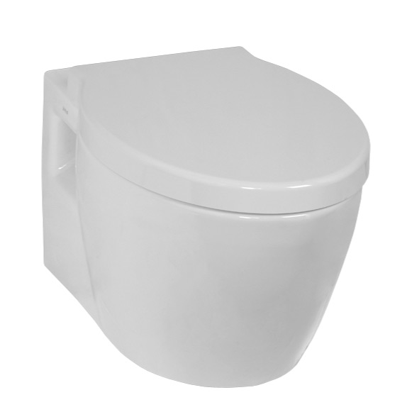 Toilet, Vitra 5384-003-0075, Upscale Round White Ceramic Wall-Mounted Toilet with Seat