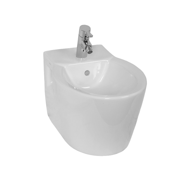 Bidet, Vitra 5386-003-0288, Unique White Rounded Ceramic Wall Mounted Bidet