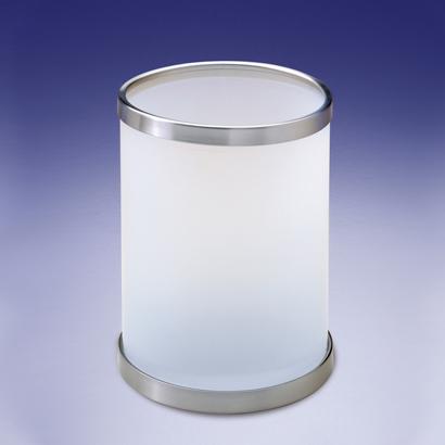 Round Frosted Glass Bathroom Waste Bin, Glass Bathroom Trash Can