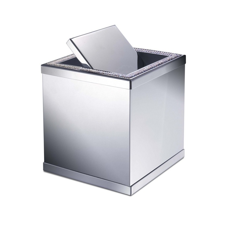 Waste Basket, Windisch 89191-CR, Brass Square Mini Waste Bin With Swivel Lid and Shine Light