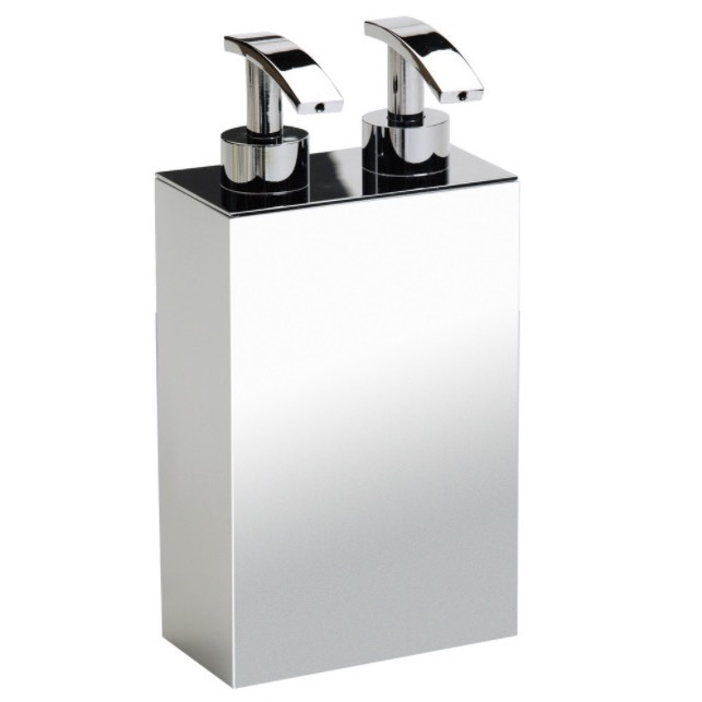 Soap Dispenser, Windisch 90124-CR, Square Wall Mounted Brass Soap Dispenser with Two Pump(s)