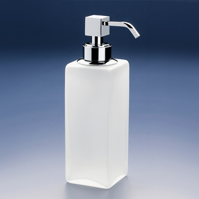 Soap Dispenser, Windisch 90412M-CR, Squared Tall Frosted Crystal Glass Soap Dispenser