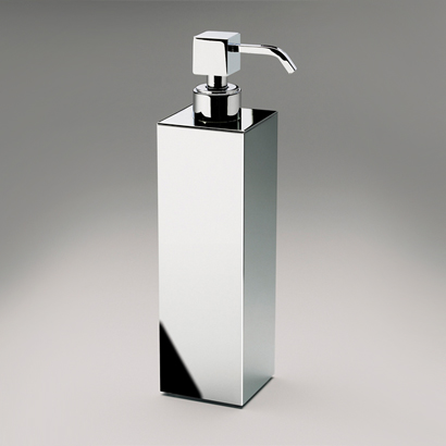 Soap Dispenser, Windisch 90418-CR, Tall Squared Brass Countertop Soap Dispenser