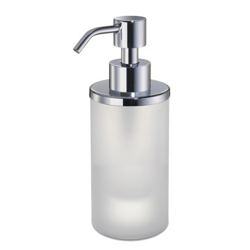 Soap Dispenser, Windisch 90463M-CR, Round Frosted Crystal Glass Soap Dispenser