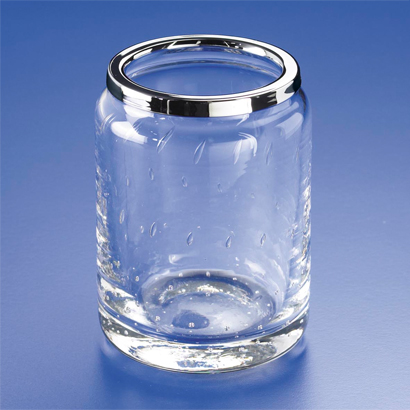 Toothbrush Holder, Windisch 91117-CR, Round Bubbled Crystal Glass Toothbrush Holder