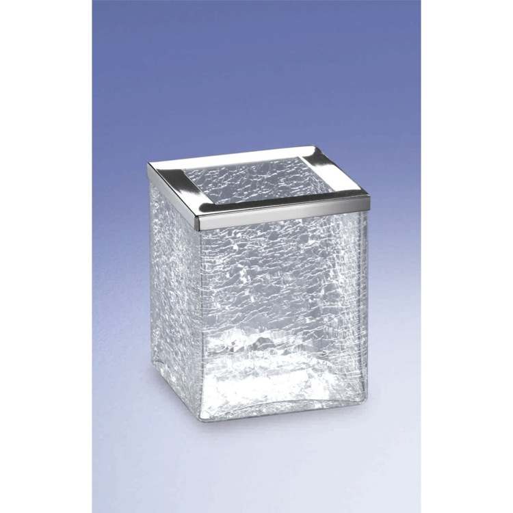 Toothbrush Holder, Windisch 91149-CR, Free Standing Crackled Glass Square Toothbrush Holder