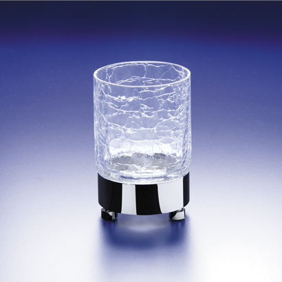 Toothbrush Holder, Windisch 94118-CR, Round Crackled Crystal Glass Tumbler