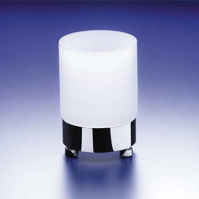 Toothbrush Holder, Windisch 94118M-CR, Round Frosted Crystal Glass Tumbler