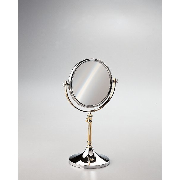 Makeup Mirror, Windisch 99104-CR-3x, Free Standing Brass Mirror With 3x, 5x Magnification