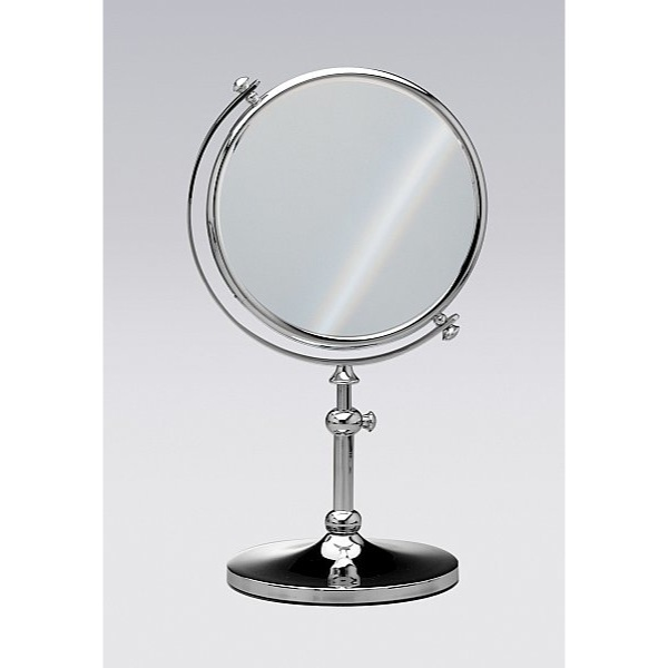 Makeup Mirror, Windisch 99111-CR-3x, Free Standing Brass Mirror With 3x Magnification
