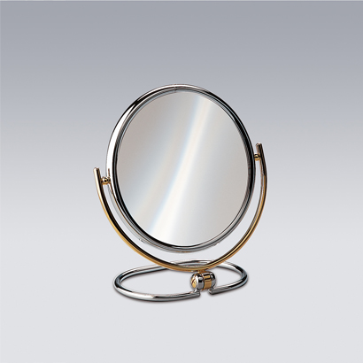 Makeup Mirror, Windisch 99121D, Chrome and Gold Double Face 3x or 5xop Magnifying Mirror 99121D