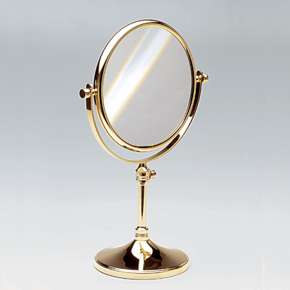 Makeup Mirror, Windisch 99132-CR-3x, Double Face Pedestal 3x, 5x, 5xop, or 7xop Brass Magnifying Mirror