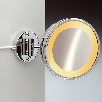 Makeup Mirror, Windisch 99153/1-CR-3x, Wall Mounted One Face Lighted 3x or 5x Brass Magnifying Mirror