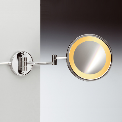 Makeup Mirror, Windisch 99153/2/D-CR-3x, Wall Mount One Face Hardwired Lighted 3x or 5x Brass Magnifying Mirror