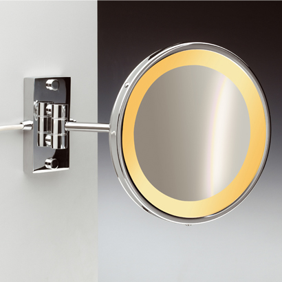 Makeup Mirror, Windisch 99157/1/D-CR-3x, Wall Mount One Face Hardwired Lighted 3x or 5x Brass Magnifying Mirror