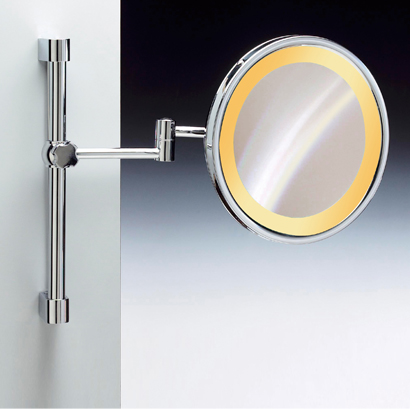 Makeup Mirror, Windisch 99159-CR-3x, Wall Mounted Chrome or Gold Round Lighted 3x or 5x Magnifying Mirror