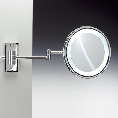 Makeup Mirror, Windisch 99187/D-CR-3x, Wall Mounted Round Lighted Hardwired Brass 3x or 5x Magnifying Mirror