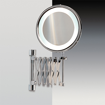 Makeup Mirror, Windisch 99188-CR-3x, Wall Mounted Brass Extendable Lighted 3x or 5x Magnifying Mirror