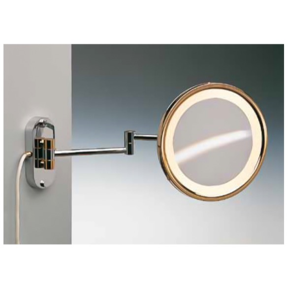 Makeup Mirror, Windisch 99250/D-CR-3x, Wall Mounted Brass LED Direct Wire Warm Light Mirror With 3x, 5x Magnification