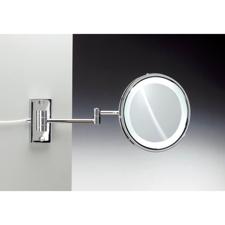 Makeup Mirror, Windisch 99287/D-CR-3x, Wall Mounted Brass LED Direct Wire Mirror With 3x, 5x Magnification