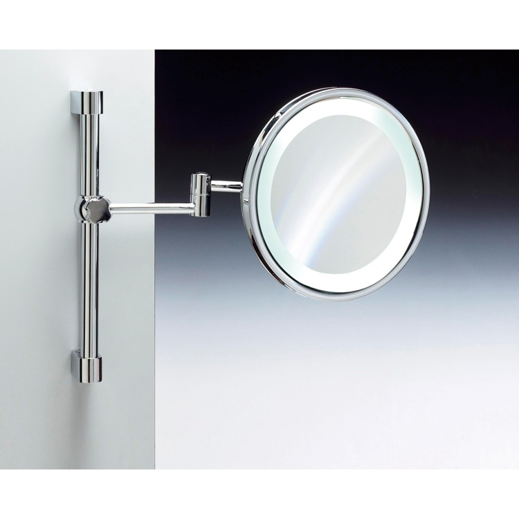 Makeup Mirror, Windisch 99289-CR-3x, Wall Mounted Brass LED Mirror With 3x, 5x Magnification