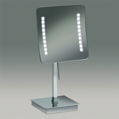 Makeup Mirror, Windisch 99627-CR-3x, Chrome or Gold Square Pedestal Lighted 3x or 5x Magnifying Mirror
