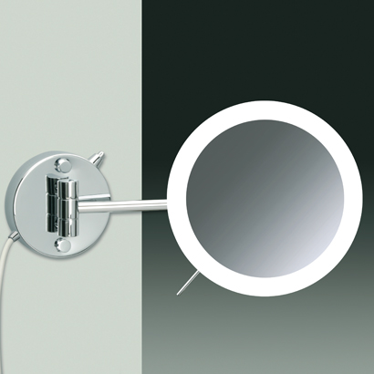 Makeup Mirror, Windisch 99650/1/D-CR-3x, Wall Mounted Chrome or Gold Hardwired 3x or 5x Lighted Magnifying Mirror
