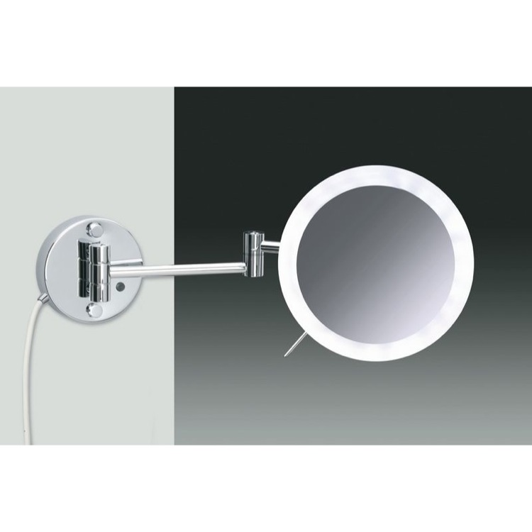 Makeup Mirror, Windisch 99650/2-CR-3x, Wall Mounted Chrome or Gold One Face Lighted 3x or 5x Magnifying Mirror