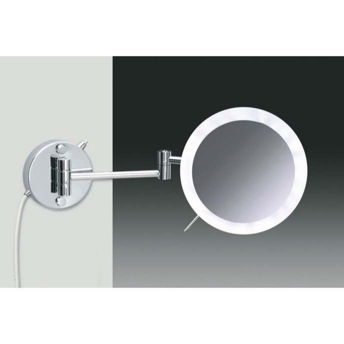 Makeup Mirror, Windisch 99650/2/D-CR-3x, Wall Mounted Hardwired Chrome or Gold 3x or 5x Lighted Magnifying Mirror