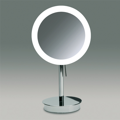 Makeup Mirror, Windisch 99651-CR-3x, Round Pedestal Lighted 3x or 5x Chrome or Gold Magnifying Mirror