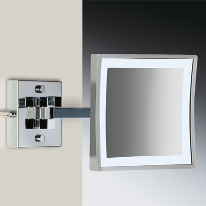 Makeup Mirror, Windisch 99667/2/D-CR-3x, Square Wall Mounted LED Brass 3x Magnifying Mirror