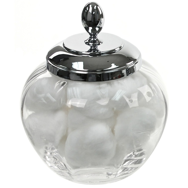 Bathroom Jar, Windisch 88477D, Round Clear Crystal Glass Cotton Ball Jar