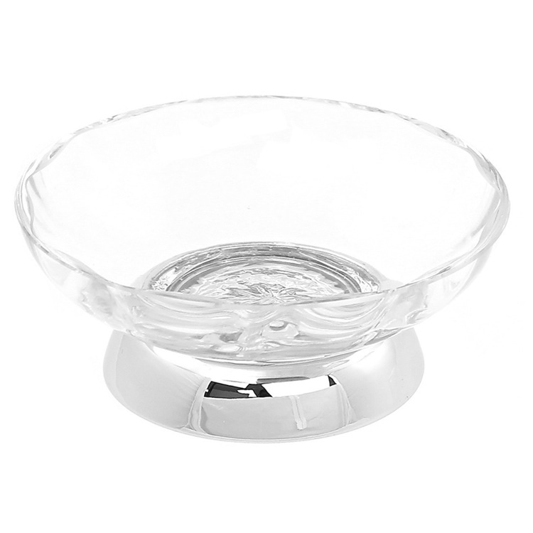 Soap Dish, Windisch 92475D, Round Clear Crystal Glass Soap Dish