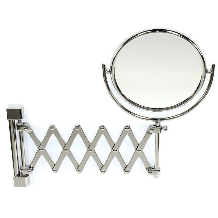Makeup Mirror, Windisch 99148-CR-3x, Wall Mounted Brass Extendable Double Face 3x, 5x, 5xop, or 7xop Magnifying Mirror