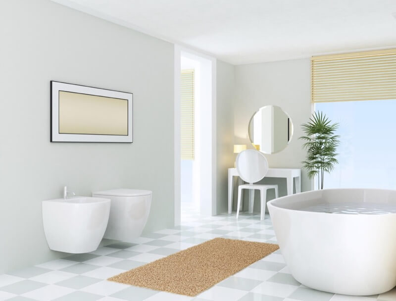 Full Checkerboard Floor: This Bathroom Shows How Easy It Is To Incorporate  The Checkerboard Pattern Into A Modern Bathroom Design. With A White Toilet,  ...