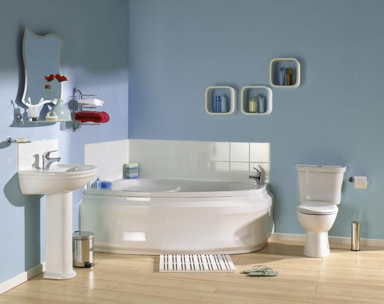 Corner Soaking Tub With White Tiled Splash Guard TheBathOutletcom - Splash guard for bathroom sink for bathroom decor ideas