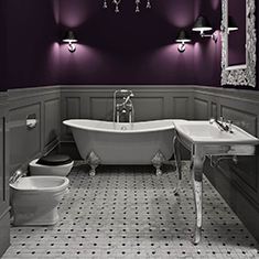 Traditional Bathroom Concept Plum Wallpaper