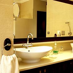 Bathroom Vanity Set With Double Vessel Round Ceramic Sink