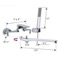 Chrome Wall Mount Tub Faucet with Long Swivel Spout and Hand Shower
